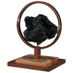 Studio Greytak 'Ouroboros 3' Azurite-Malachite, Copper & Zebrawood Objet D'Art