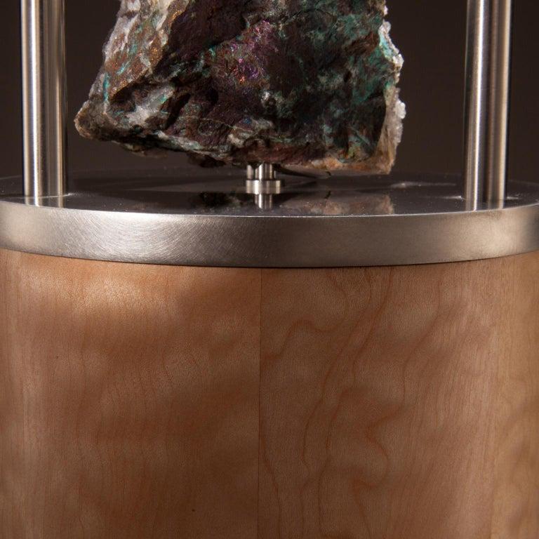 American Studio Greytak 'Peekaboo Table 6' Quartz, Chalcedony, Maple and Stainless Steel For Sale