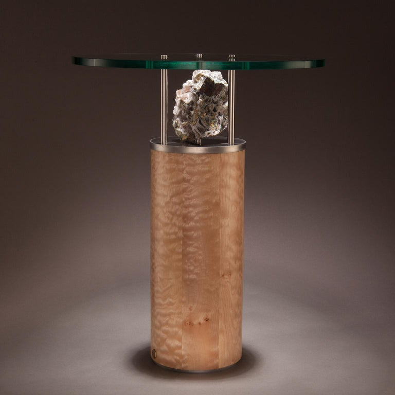 Contemporary Studio Greytak 'Peekaboo Table 6' Quartz, Chalcedony, Maple and Stainless Steel For Sale