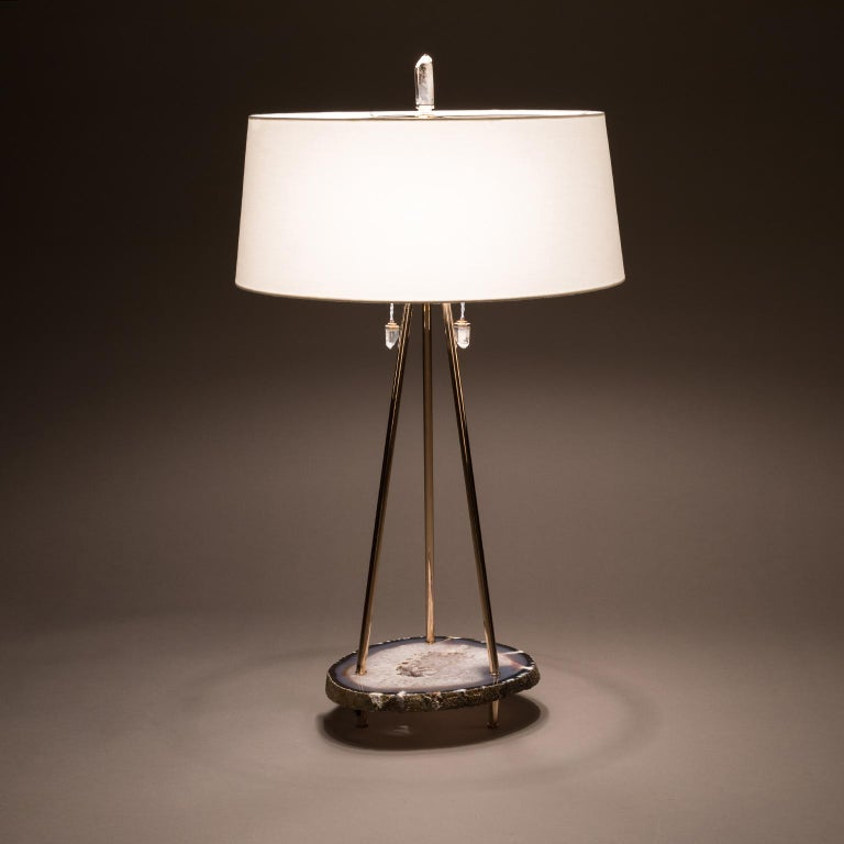 Modern Studio Greytak 'Pyramid Lamp 1' Brazilian Agate, Mirror Polished Bronze & Quartz For Sale