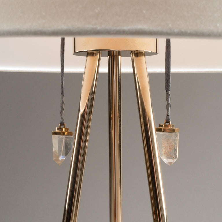 American Studio Greytak 'Pyramid Lamp 1' Brazilian Agate, Mirror Polished Bronze & Quartz For Sale