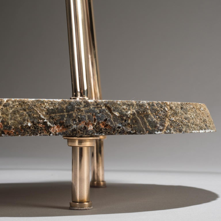 Studio Greytak 'Pyramid Lamp 1' Brazilian Agate, Mirror Polished Bronze & Quartz For Sale 2