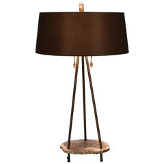 "Studio Greytak ""Pyramid Lamp 3"" Petrified Wood, Bronze and Quartz Table Lamp"