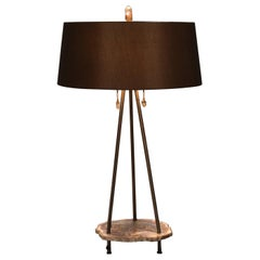"Studio Greytak ""Pyramid Lamp 4"" Petrified Wood, Bronze and Quartz Table Lamp"