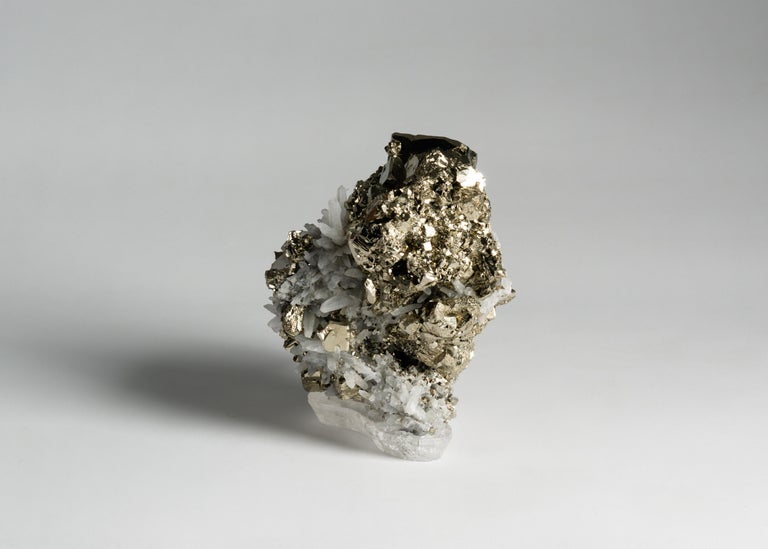 American Studio Greytak, Pyrite with Quartz on Crystal Base, United States, 2018 For Sale
