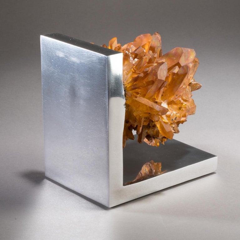 Studio Greytak 'Rusty Quartz on Aluminum Base' Natural Quartz and Cast Aluminum In New Condition For Sale In Missoula, MT