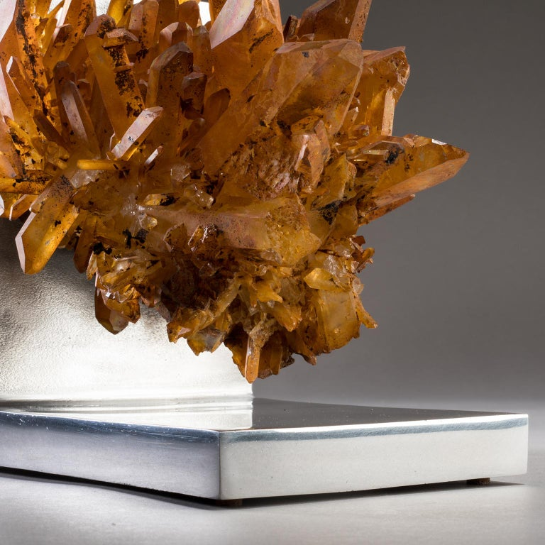 Studio Greytak 'Rusty Quartz on Aluminum Base' Natural Quartz and Cast Aluminum For Sale 3