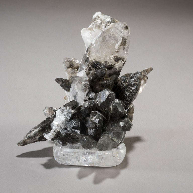 Modern Studio Greytak 'Smoky Quartz on Crystal Base' Smoky Grey & Clear Colored Quartz For Sale