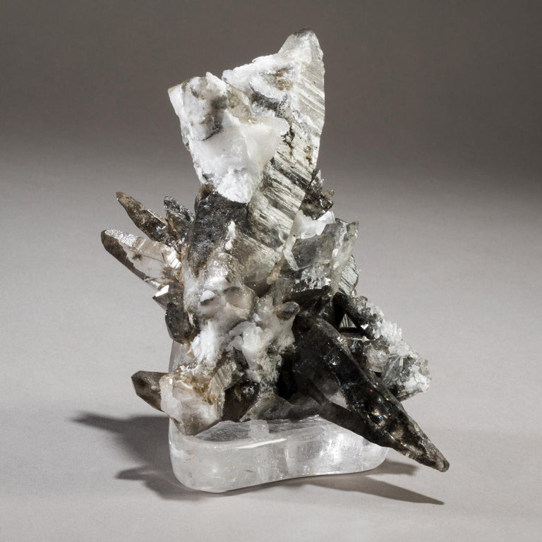 American Studio Greytak 'Smoky Quartz on Crystal Base' Smoky Grey & Clear Colored Quartz For Sale