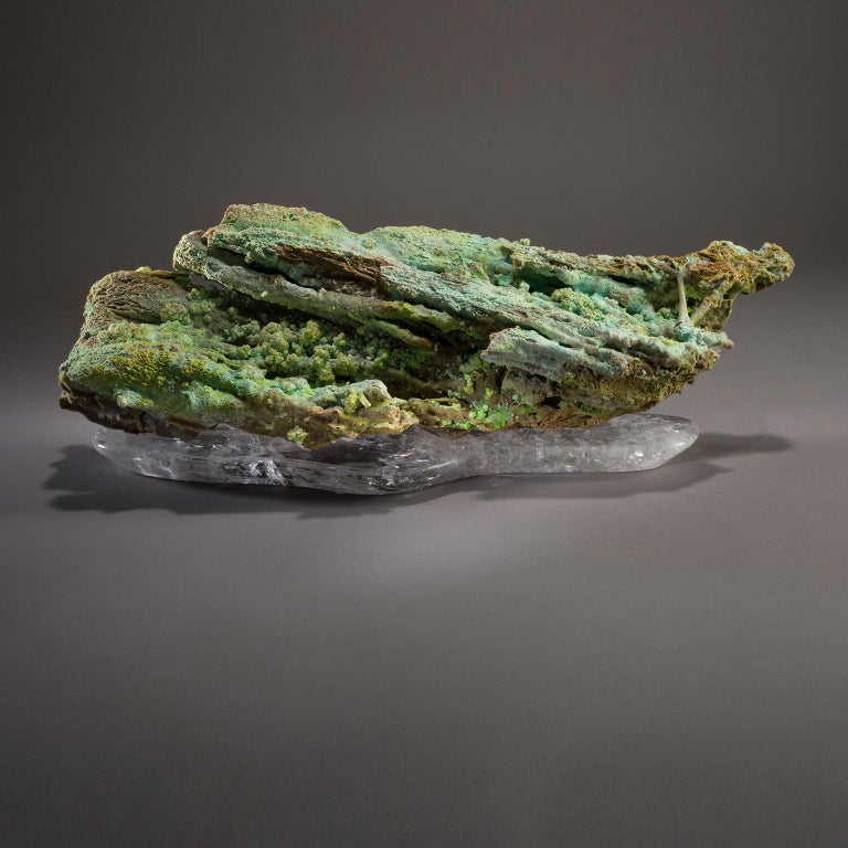 Studio Greytak 'Stalactite on Crystal Base' Green Stalactite & Clear Quartz Base For Sale 4
