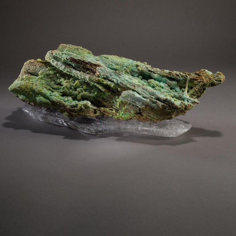 Studio Greytak 'Stalactite on Crystal Base' Green Stalactite & Clear Quartz Base For Sale 5