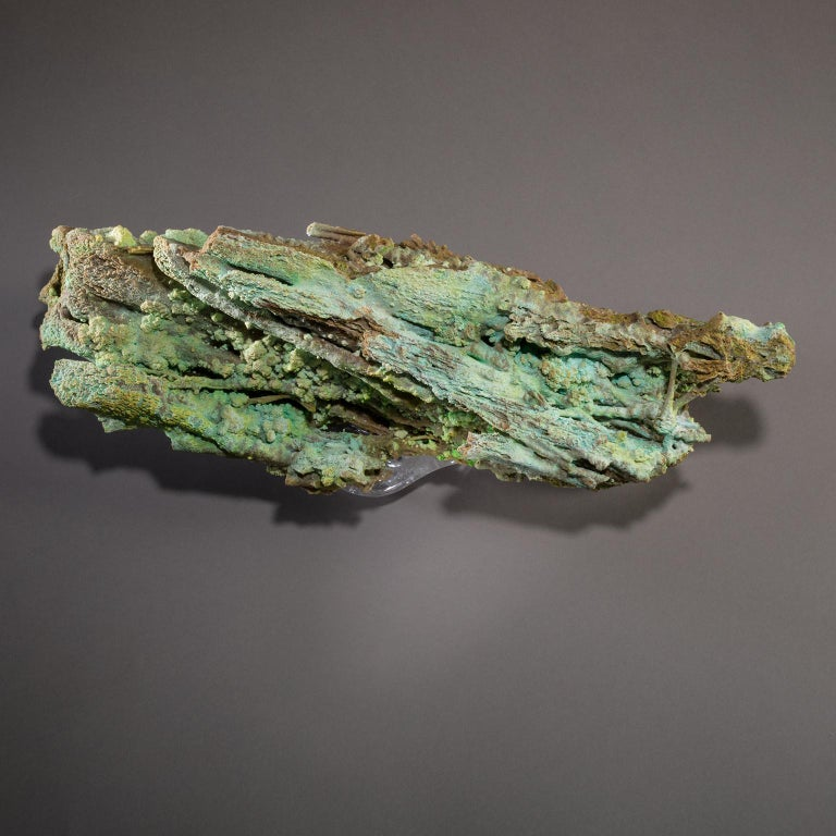 Studio Greytak 'Stalactite on Crystal Base' Green Stalactite & Clear Quartz Base For Sale 6