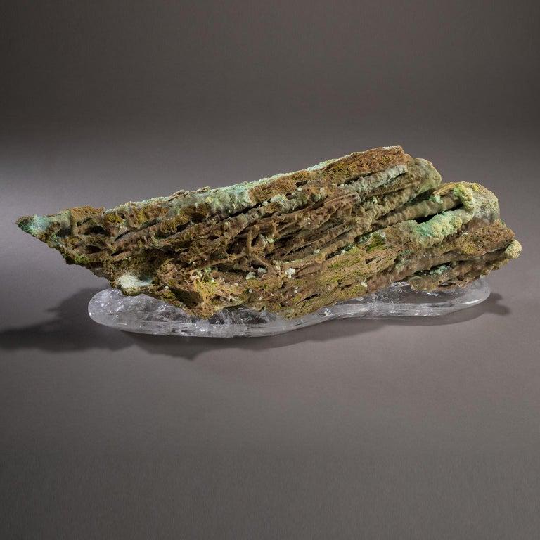 Modern Studio Greytak 'Stalactite on Crystal Base' Green Stalactite & Clear Quartz Base For Sale