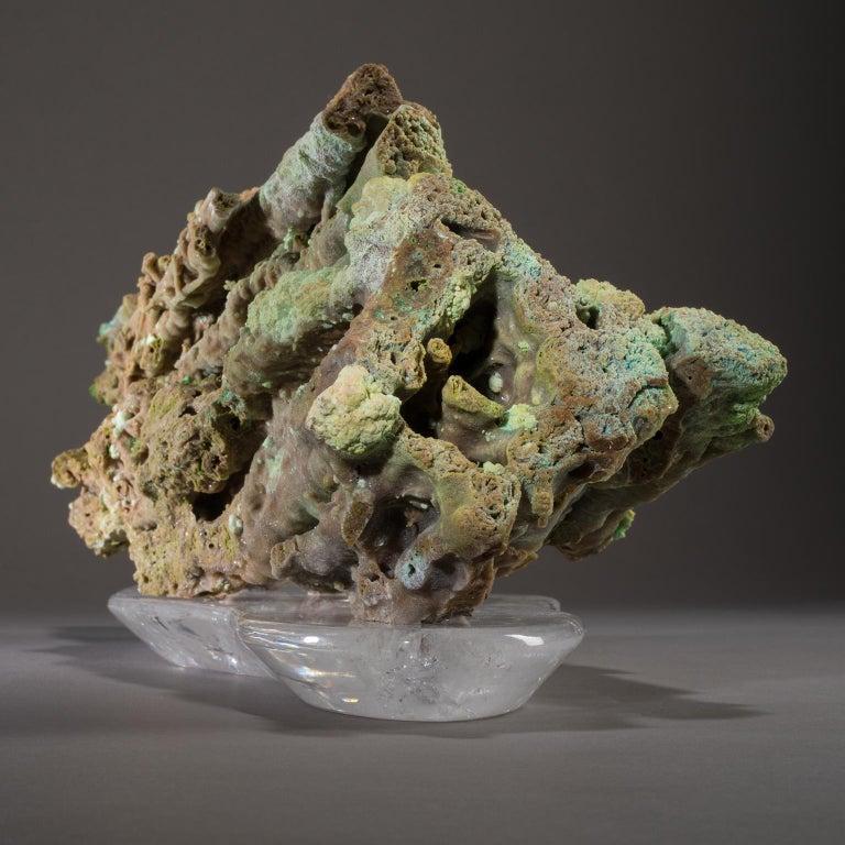 Contemporary Studio Greytak 'Stalactite on Crystal Base' Green Stalactite & Clear Quartz Base For Sale