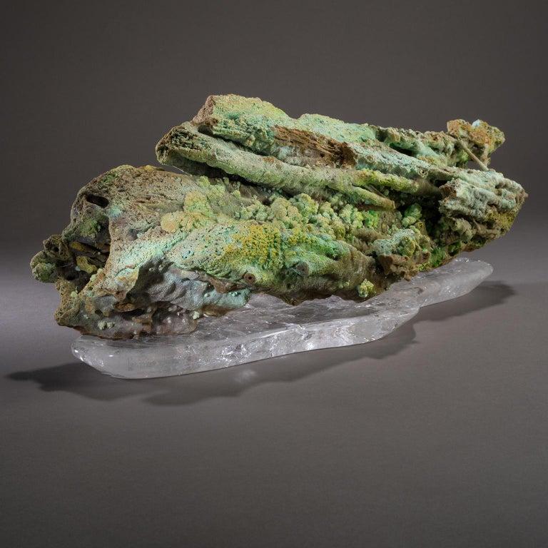 Studio Greytak 'Stalactite on Crystal Base' Green Stalactite & Clear Quartz Base For Sale 2