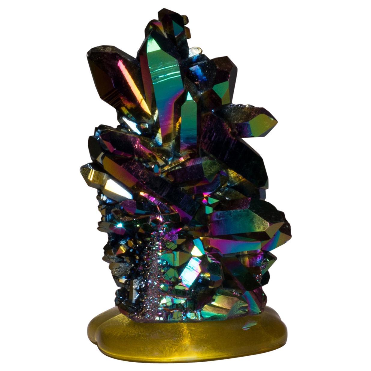 Studio Greytak 'Titanium Quartz on Cast Glass' Iridescent Quartz & Yellow Glass