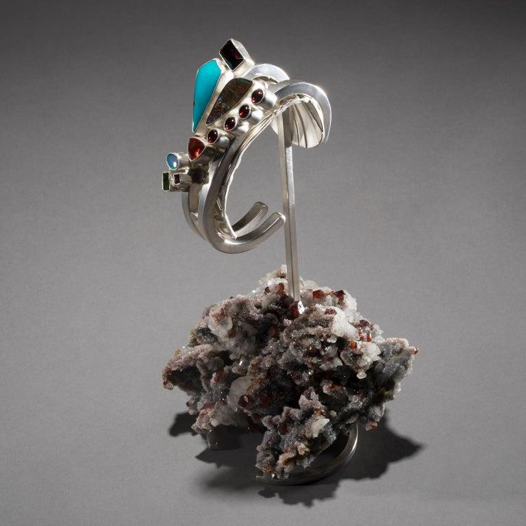 Studio Greytak 'Turquoise Cuff on Sphalerite with Garnet' Sunstone & Tourmaline For Sale 3