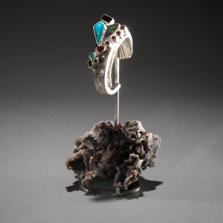American Studio Greytak 'Turquoise Cuff on Sphalerite with Garnet' Sunstone & Tourmaline For Sale