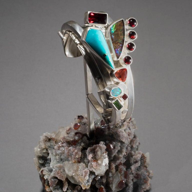 Studio Greytak 'Turquoise Cuff on Sphalerite with Garnet' Sunstone & Tourmaline In New Condition For Sale In Missoula, MT