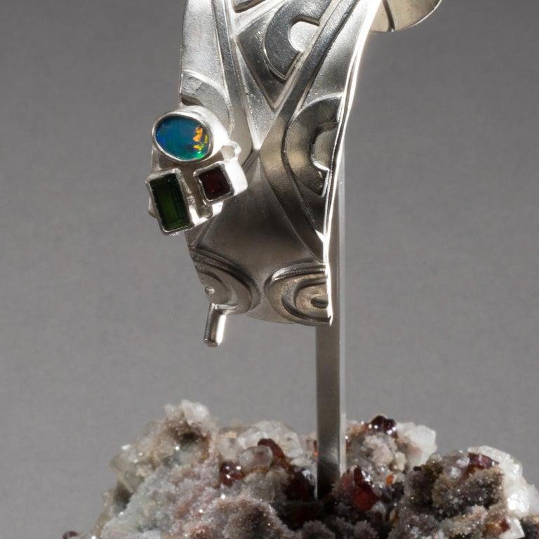 Contemporary Studio Greytak 'Turquoise Cuff on Sphalerite with Garnet' Sunstone & Tourmaline For Sale