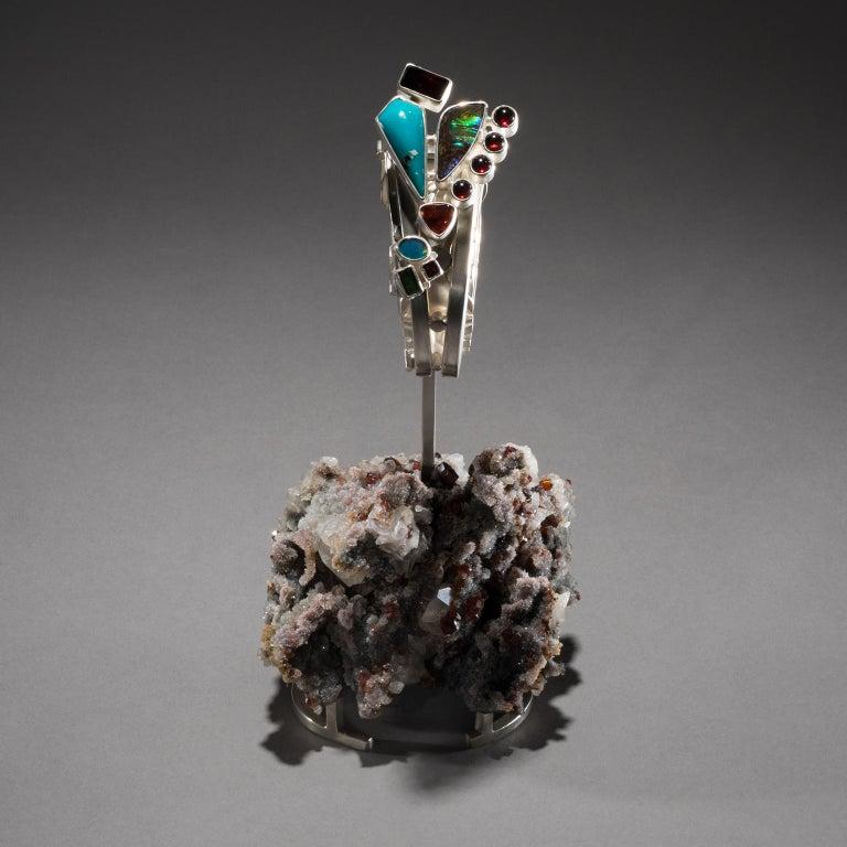 Silver Studio Greytak 'Turquoise Cuff on Sphalerite with Garnet' Sunstone & Tourmaline For Sale