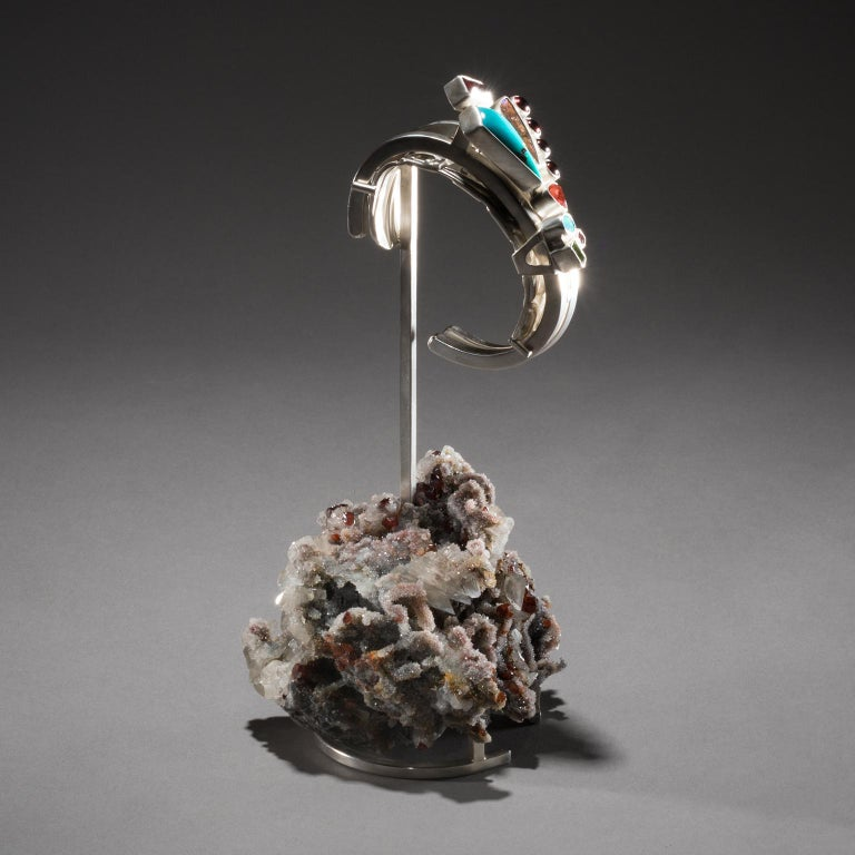 Studio Greytak 'Turquoise Cuff on Sphalerite with Garnet' Sunstone & Tourmaline For Sale 1