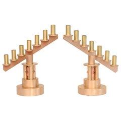 Studio Handwrought Bronze, Brass and Copper Candlesticks Midcentury, Pair