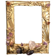 Studio Handwrought Brass and Mineral Stone Picture Frame