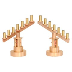 Studio Handwrought Bronze, Brass and Copper Candlesticks Mid-Century Modern