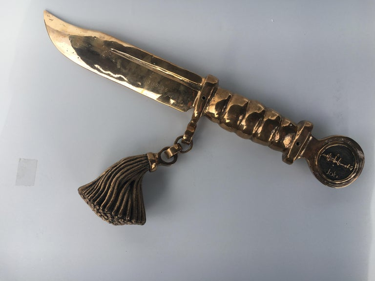 Bronze knife of STUDIO JOB with ornamental brush For Sale 3