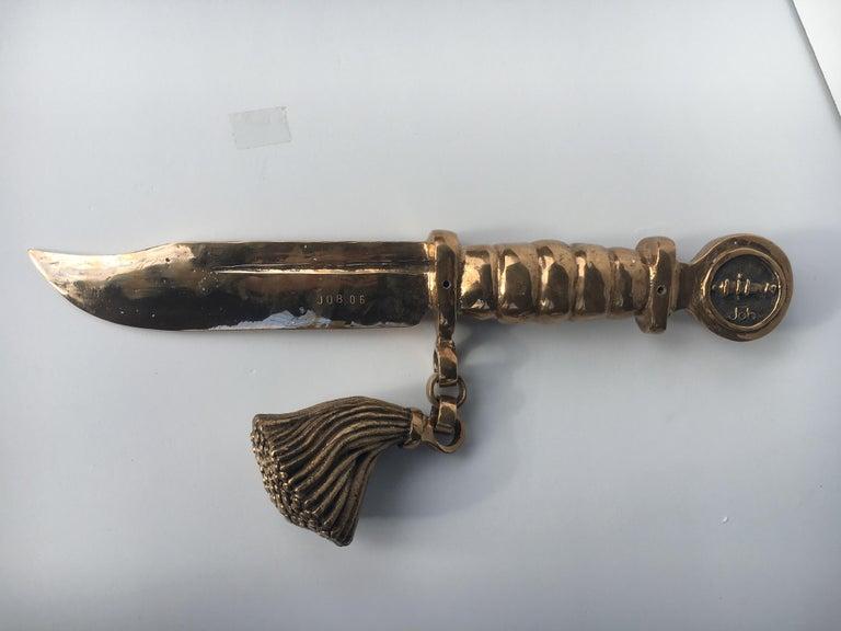 Bronze knife of STUDIO JOB with ornamental brush For Sale 6