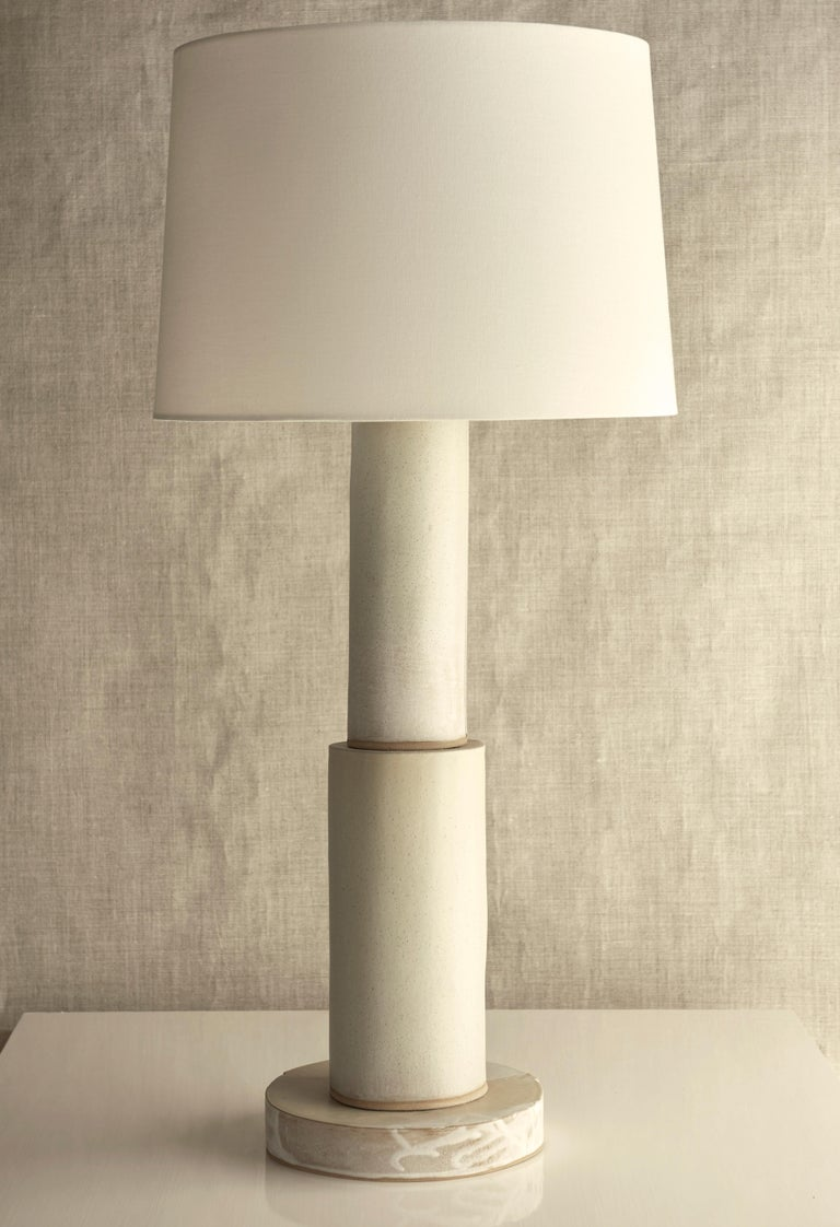 Fired Studio Lamp, Ceramic Sculptural Table Lamp by Dumais Made For Sale