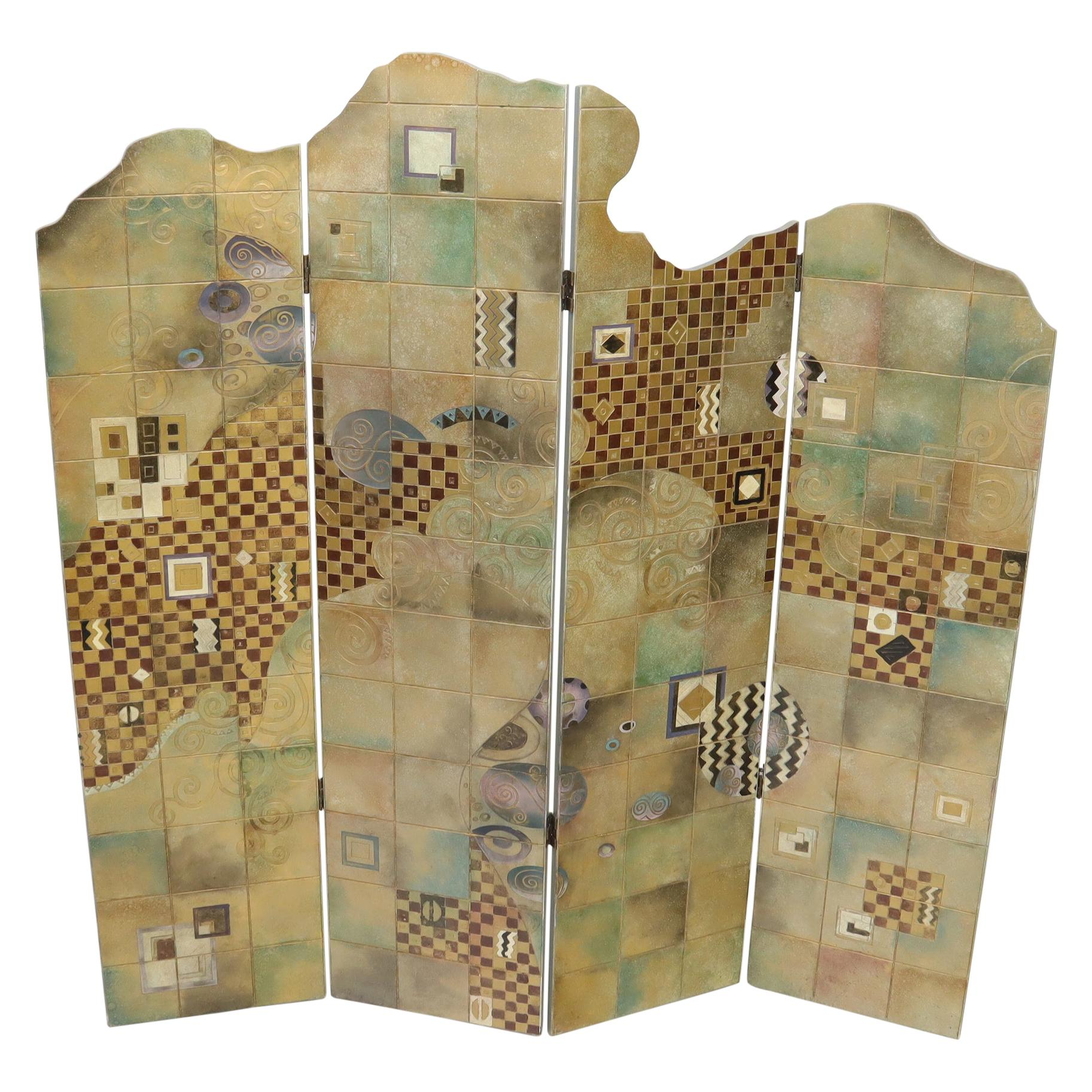 Studio Made Art Decorated Lacquered 4-Panel Room Divider Screen