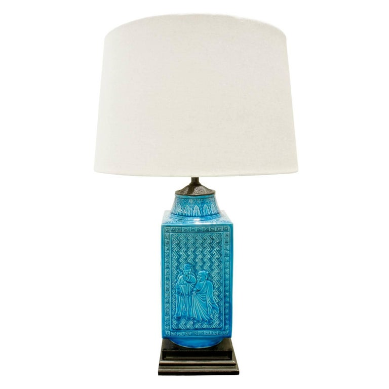Modern Studio Made Ceramic Table Lamp with Chinese Motifs, 1950s For Sale