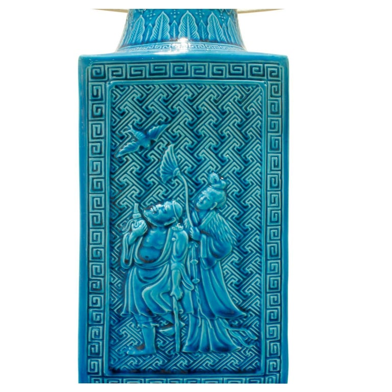 Studio Made Ceramic Table Lamp with Chinese Motifs, 1950s In Excellent Condition For Sale In New York, NY