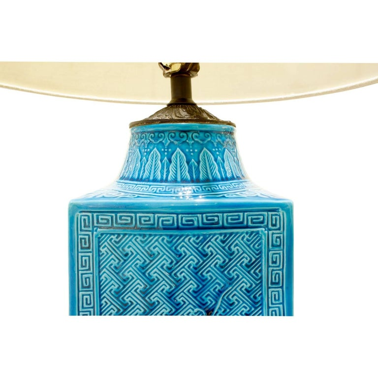 Brass Studio Made Ceramic Table Lamp with Chinese Motifs, 1950s For Sale