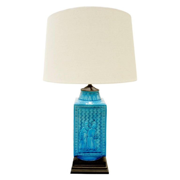 Studio Made Ceramic Table Lamp with Chinese Motifs, 1950s For Sale