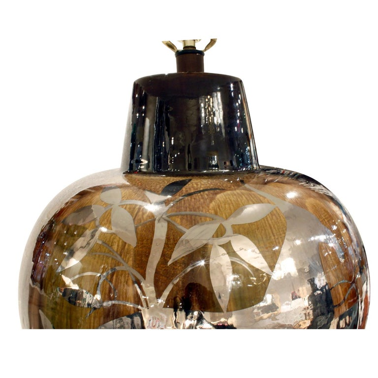 Hand-Crafted Studio Made Ceramic Table Lamp with Graphic Flora and Fauna Silver Overlay 1970s For Sale
