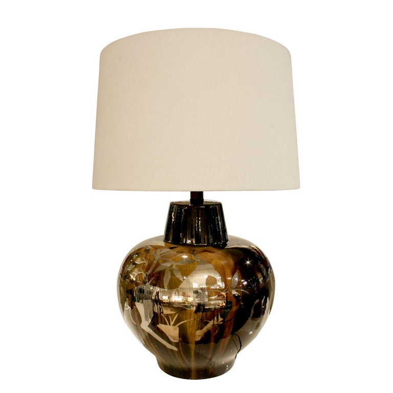 Studio Made Ceramic Table Lamp with Graphic Flora and Fauna Silver Overlay 1970s For Sale