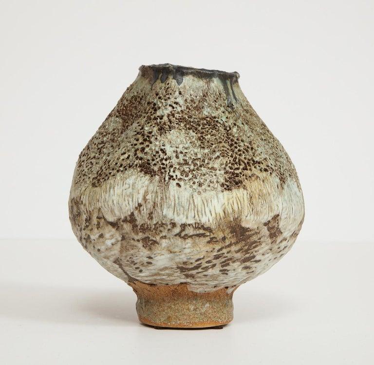 Glazed Studio-Made Footed Vase by Dena Zemsky For Sale