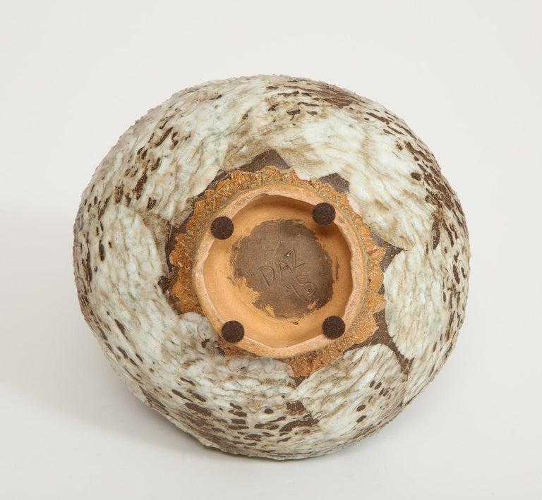 Stoneware Studio-Made Footed Vase by Dena Zemsky For Sale