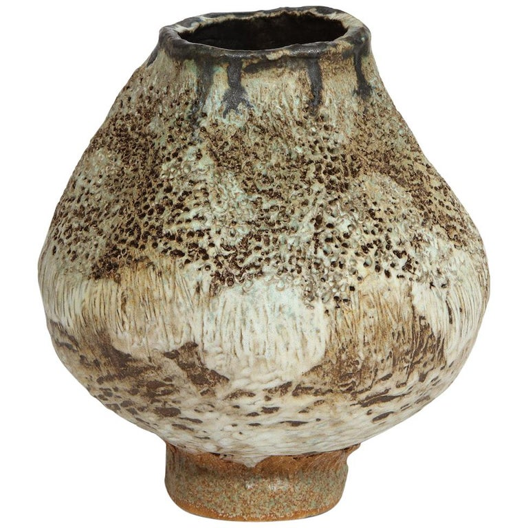 Studio-Made Footed Vase by Dena Zemsky For Sale