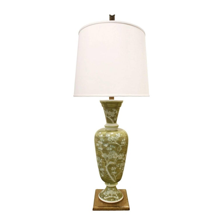 Studio Made French Hand-Painted Porcelain Table Lamp, 1950s For Sale