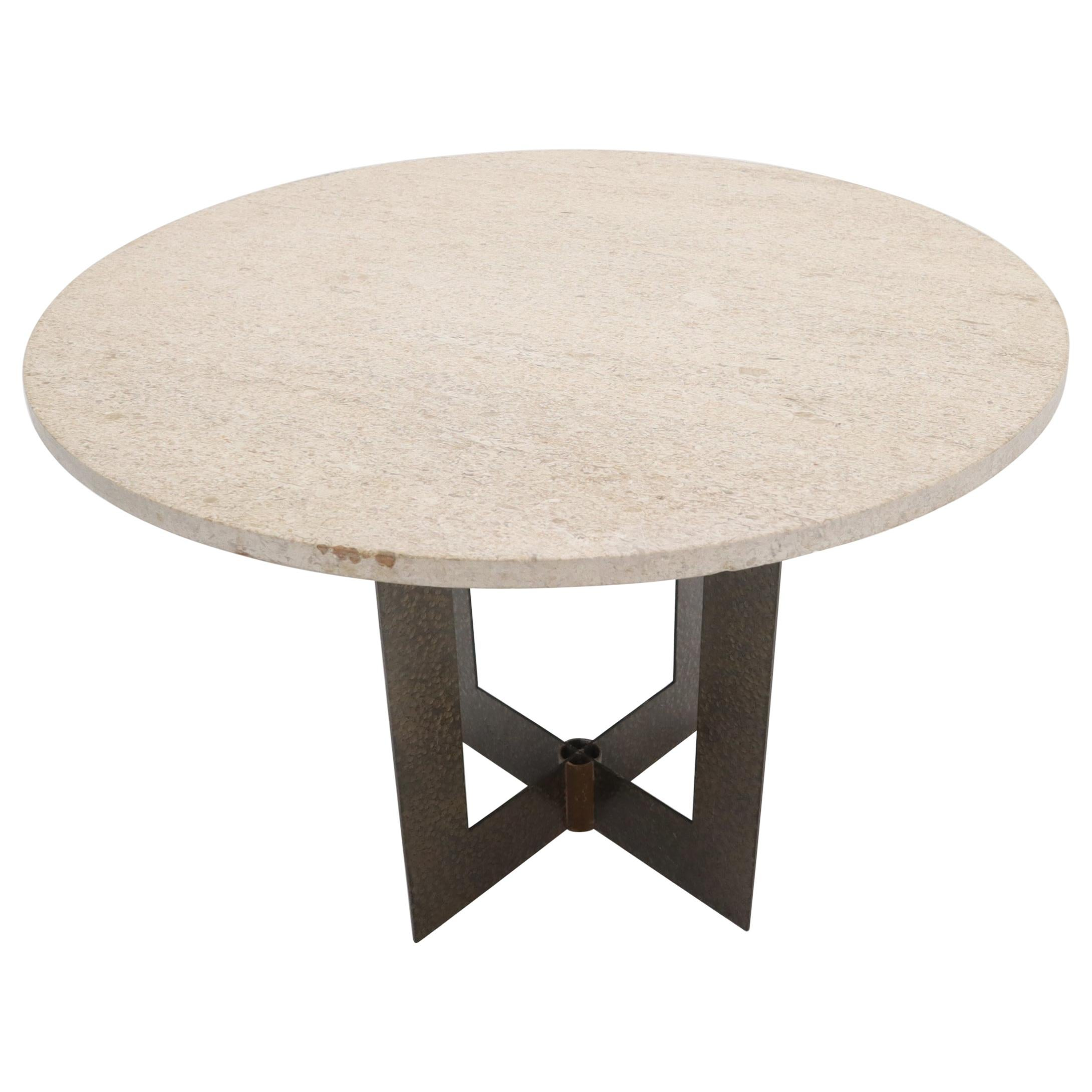 Studio Made Hammered Braised Copper Base Round Travertine Top Side End Table