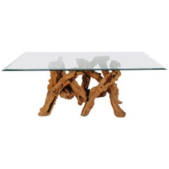 Studio Made Mid-Century Modern Live Edge Driftwood Glass Top Dining Table