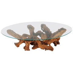 Studio Made Mid-Century Modern Live Edge Driftwood Glass Top Oval Coffee Table