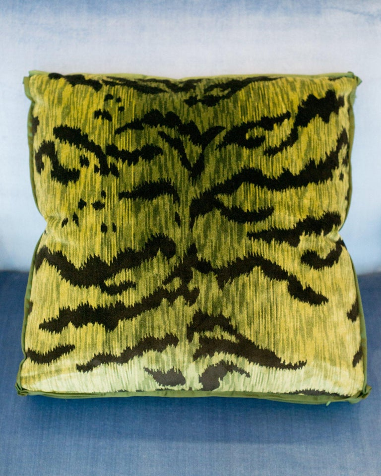 A pair of luxurious Studio Maison Nurita pillows in our signature box design with Bevilacqua chartreuse green and black tiger print velvet with a satin border and pleated corners. Established by Luigi Bevilacqua, and operating out of Venice since
