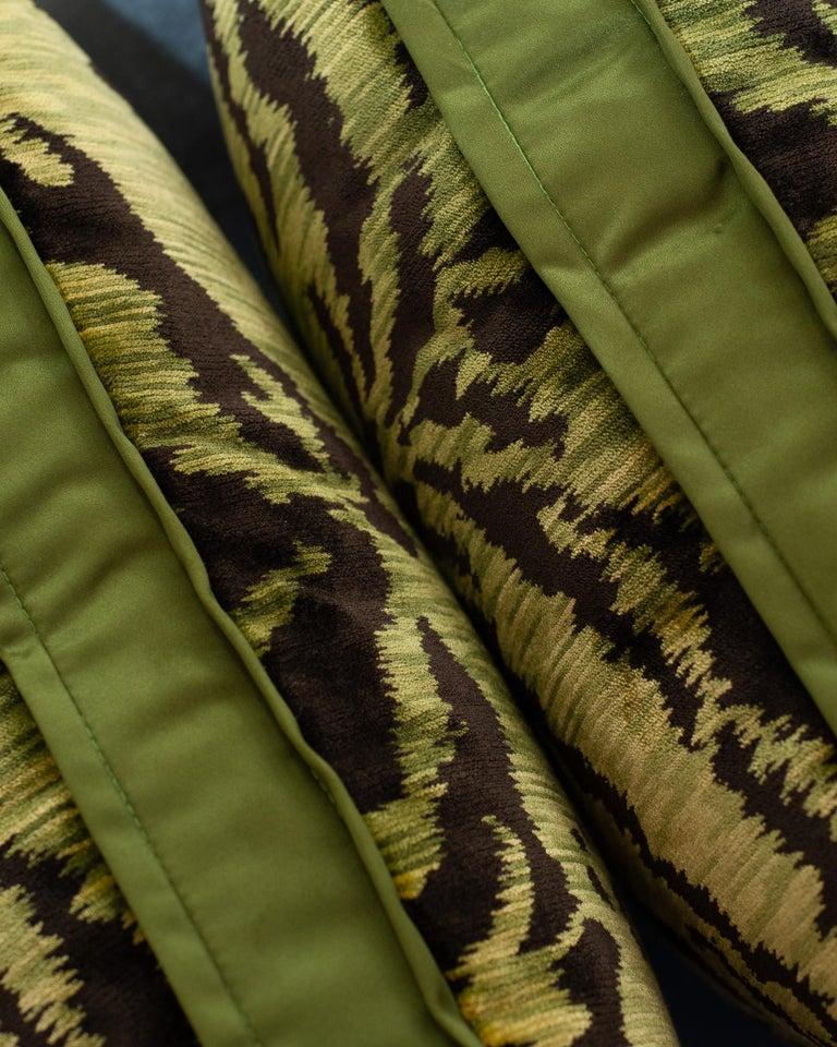 Canadian Chartreuse Green Bevilacqua Tiger Silk Velvet Pillows by Studio Maison Nurita For Sale