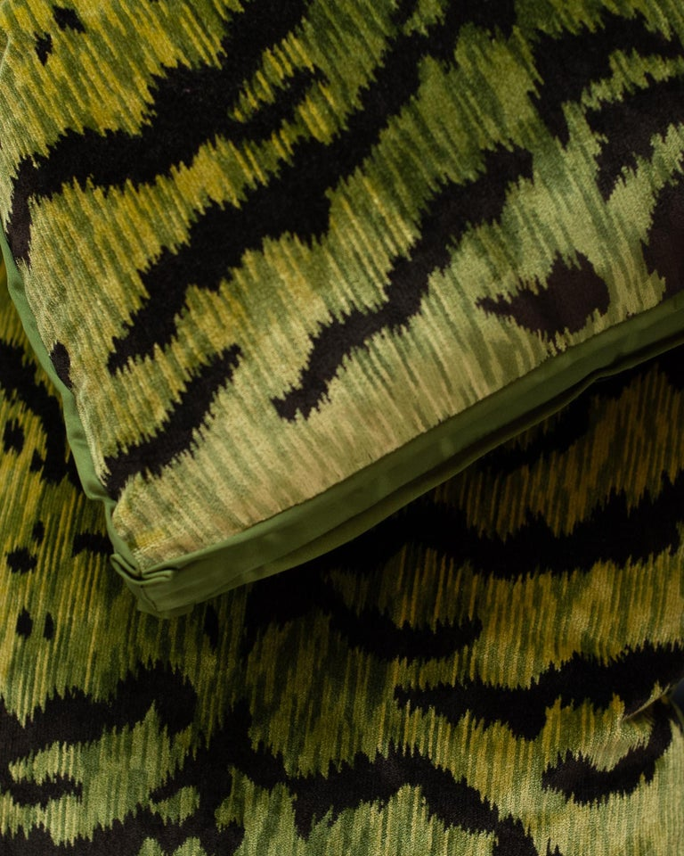 Chartreuse Green Bevilacqua Tiger Silk Velvet Pillows by Studio Maison Nurita In Excellent Condition For Sale In Toronto, ON