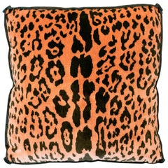 Studio Maison Nurita Coral Pink Bevilacqua Leopard Silk Velvet and Satin Pillows